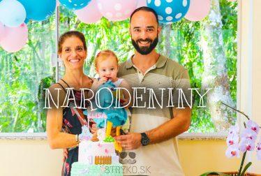 Blahoželanie všetko najlepšie k narodeninám, priane a titulný obrázok. Rodina s dieťaťom oslavujú 1. narodeniny dieťaťa.